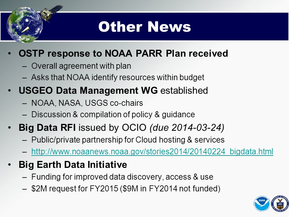 Other News OSTP response to NOAA PARR Plan received