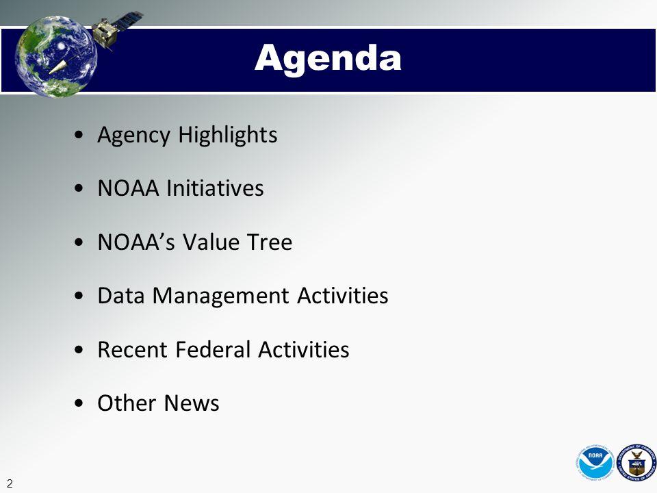 Agenda Agency Highlights NOAA Initiatives NOAA's Value Tree