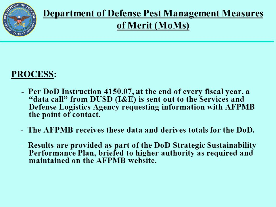 Department of Defense Pest Management Measures of Merit (MoMs)
