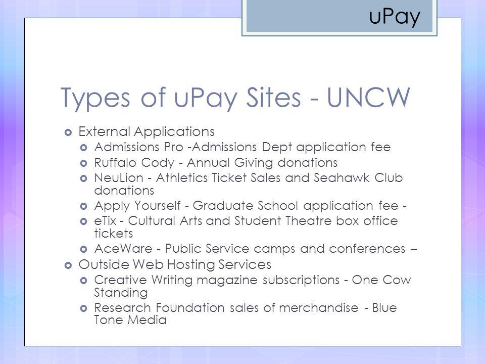Types of uPay Sites - UNCW