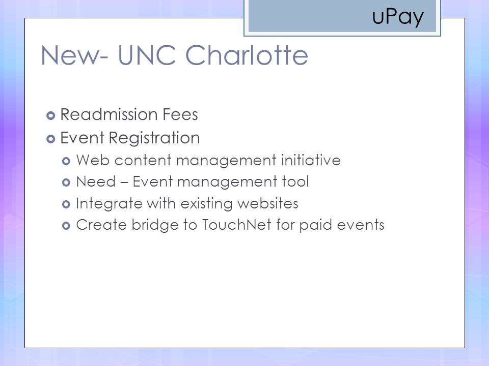 New- UNC Charlotte uPay Readmission Fees Event Registration