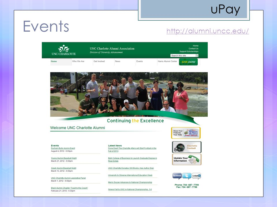 uPay Events http://alumni.uncc.edu/