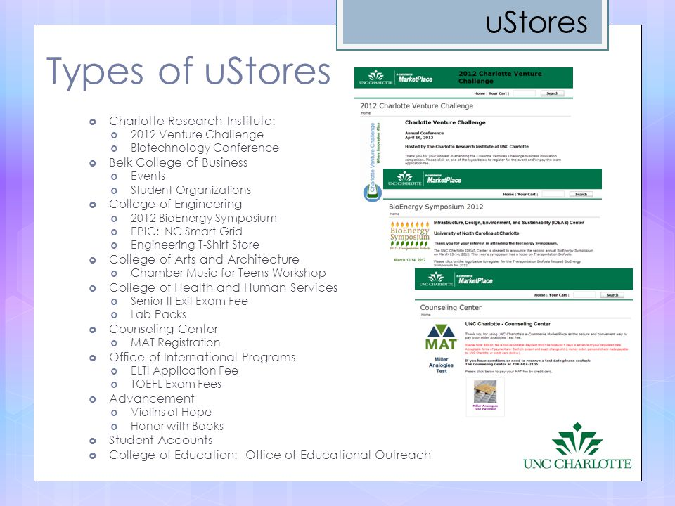 Types of uStores uStores Charlotte Research Institute: