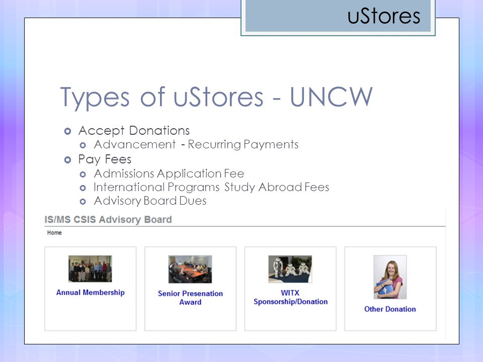 Types of uStores - UNCW uStores Accept Donations Pay Fees