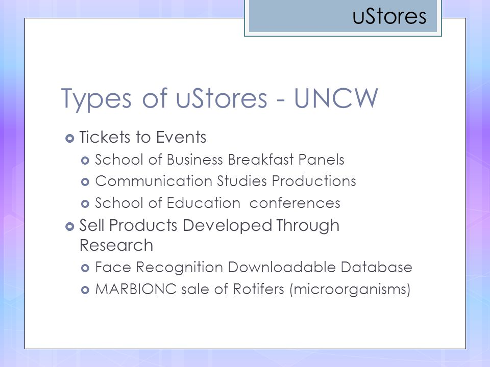 Types of uStores - UNCW uStores Tickets to Events