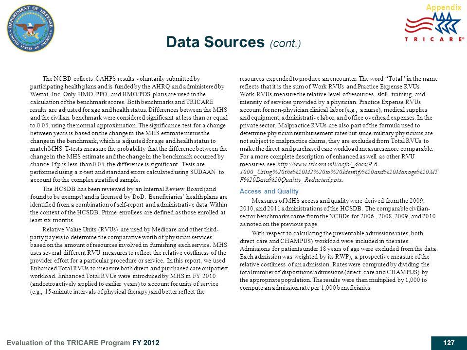 Data Sources (cont.) Appendix