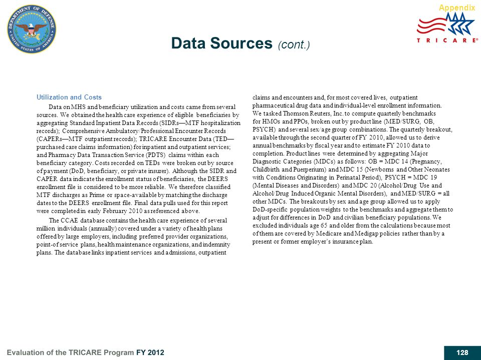 Data Sources (cont.) Appendix Utilization and Costs