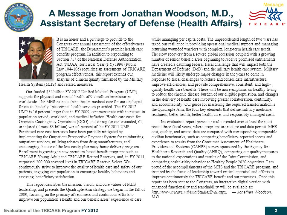 Message A Message from Jonathan Woodson, M.D., Assistant Secretary of Defense (Health Affairs)
