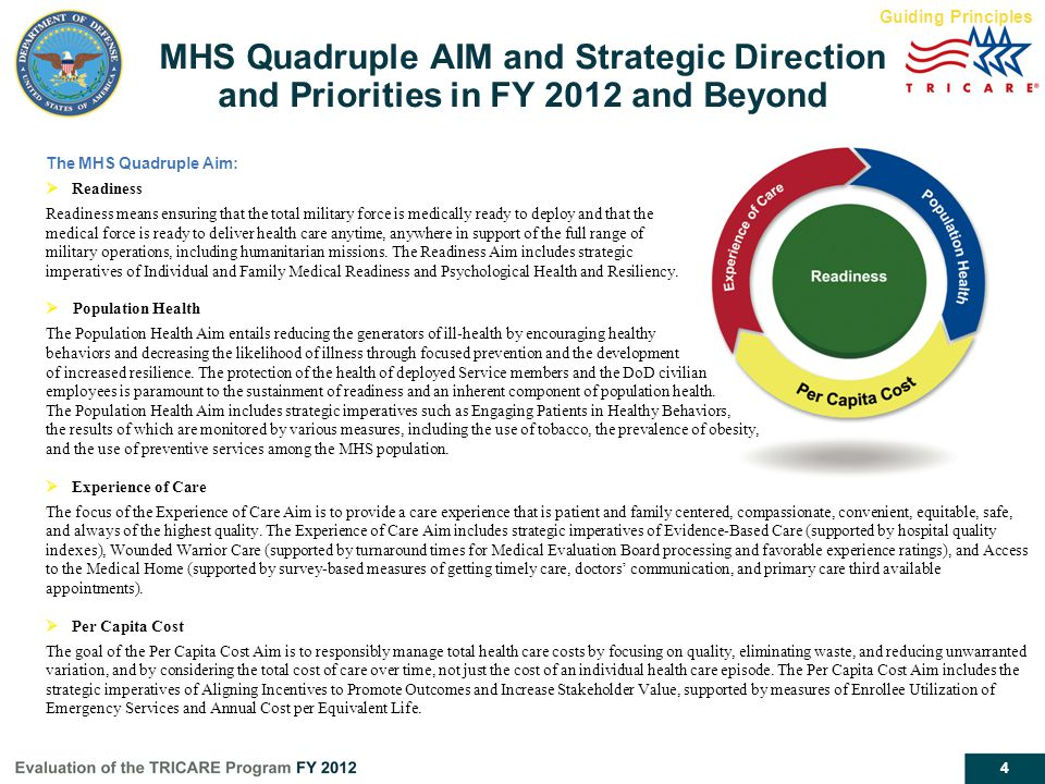 Guiding Principles MHS Quadruple AIM and Strategic Direction and Priorities in FY 2012 and Beyond. The MHS Quadruple Aim: