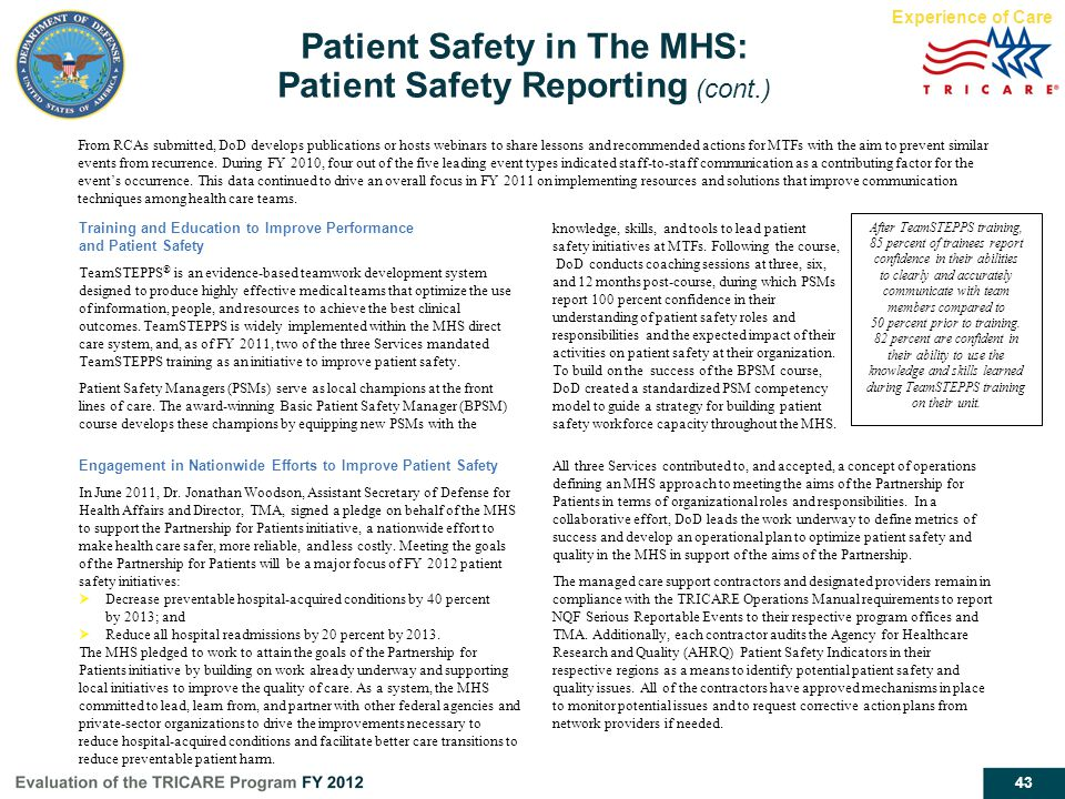 Patient Safety in The MHS: Patient Safety Reporting (cont.)