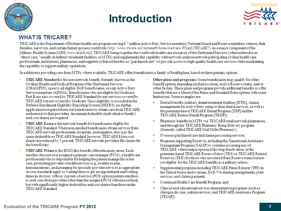 Introduction WHAT IS TRICARE Introduction Report page 4