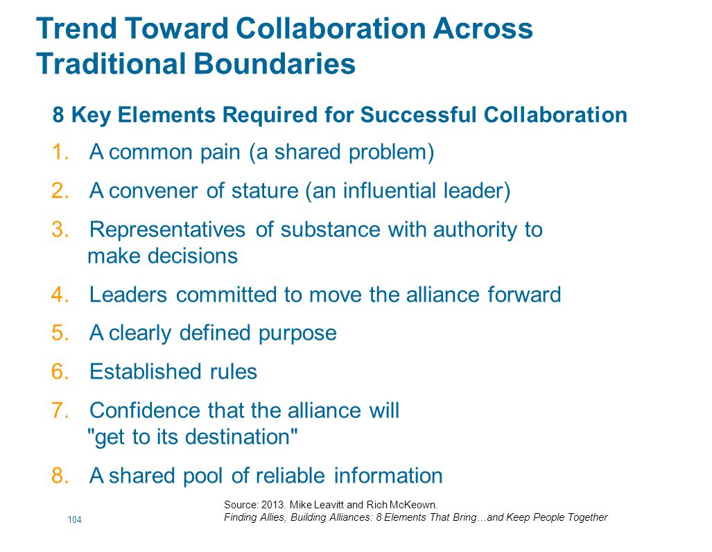Trend Toward Collaboration Across Traditional Boundaries