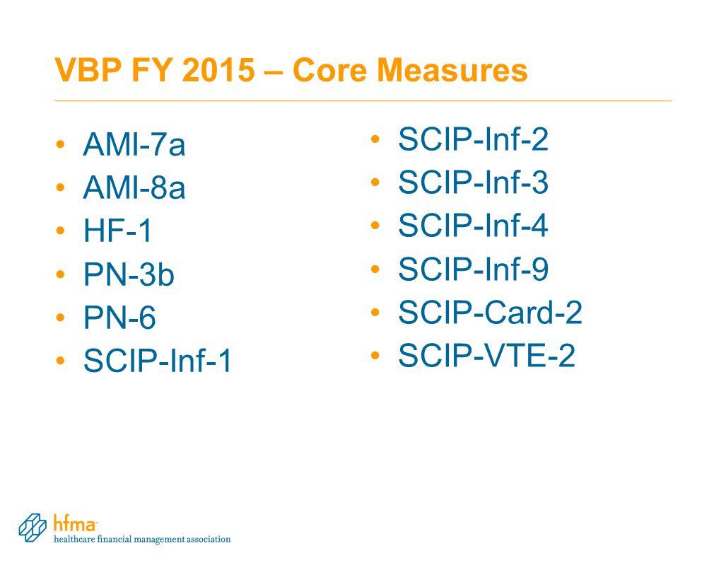 VBP FY 2015 – Core Measures SCIP-Inf-2 AMI-7a SCIP-Inf-3 AMI-8a