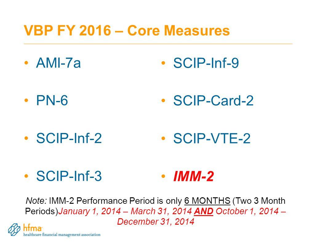 VBP FY 2016 – Core Measures AMI-7a SCIP-Inf-9 PN-6 SCIP-Card-2