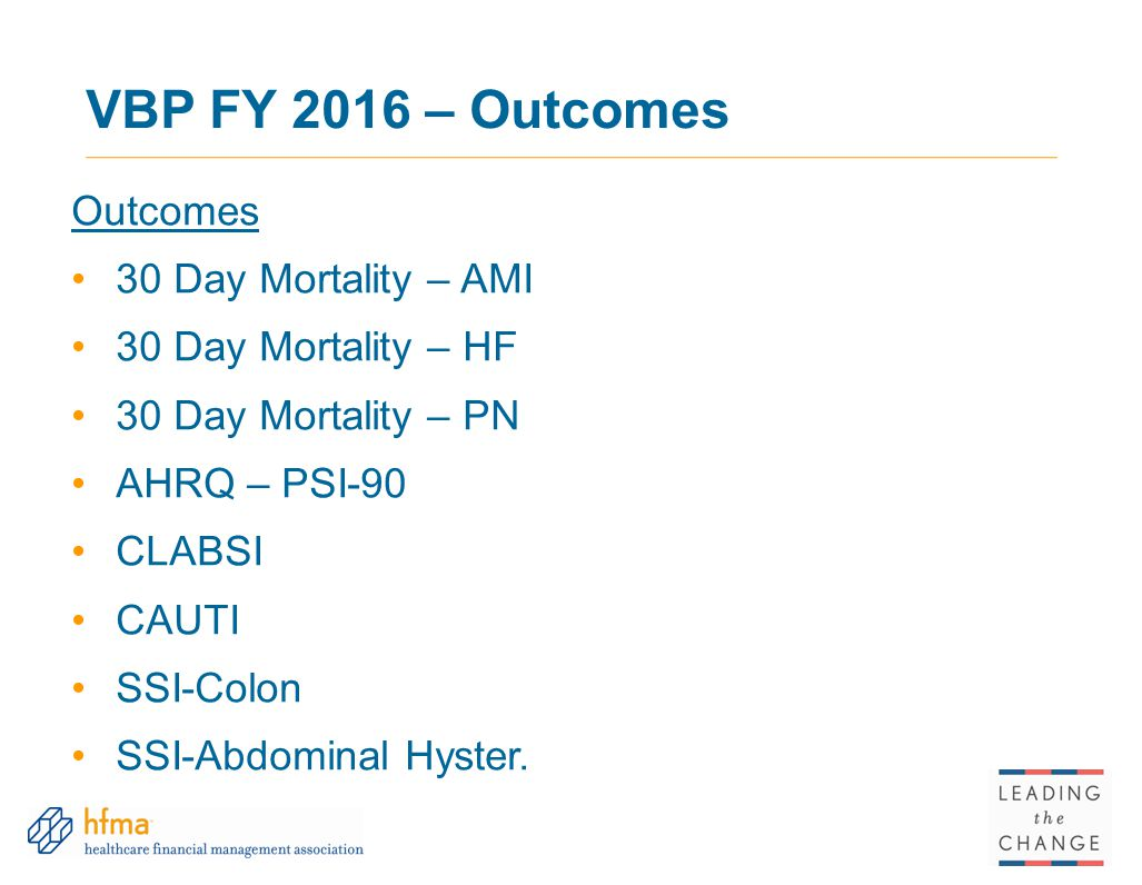VBP FY 2016 – Outcomes Outcomes 30 Day Mortality – AMI