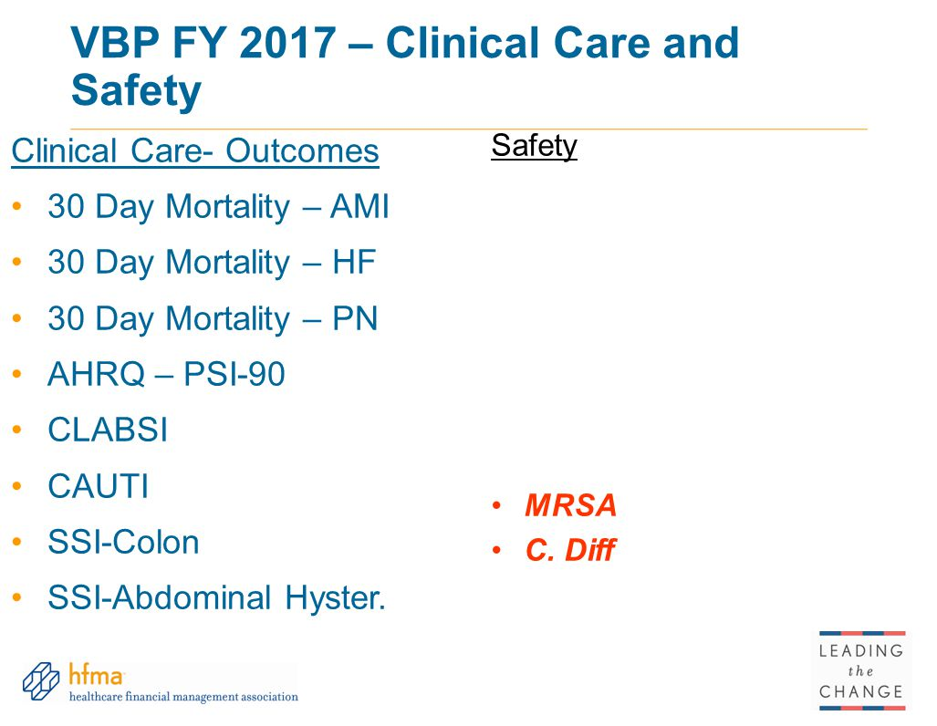 VBP FY 2017 – Clinical Care and Safety