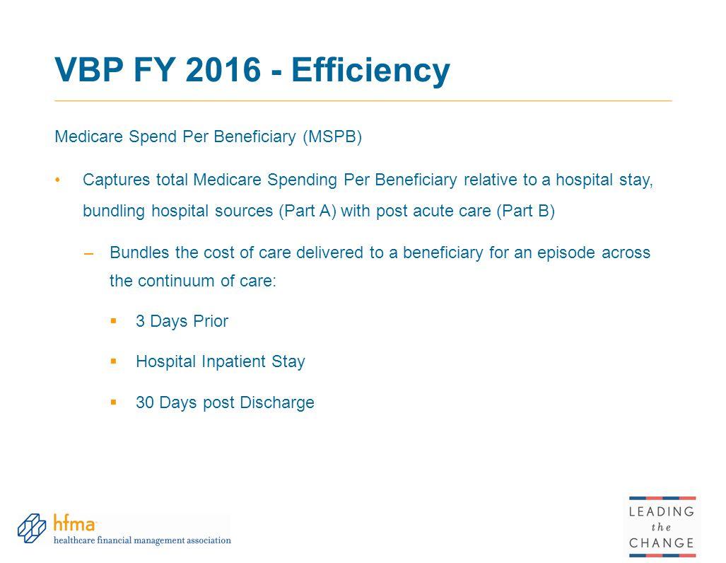 VBP FY 2016 - Efficiency Medicare Spend Per Beneficiary (MSPB)