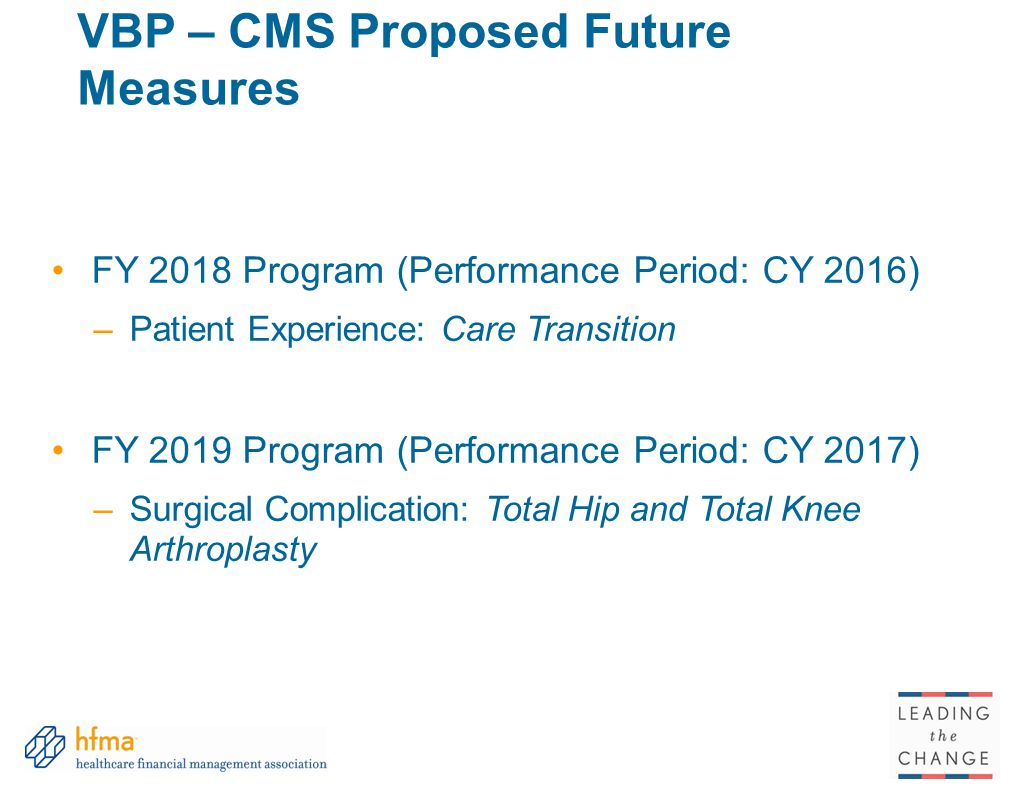 VBP – CMS Proposed Future Measures
