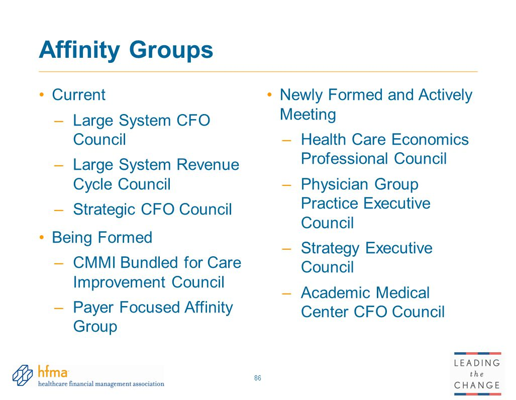 Affinity Groups Current Large System CFO Council