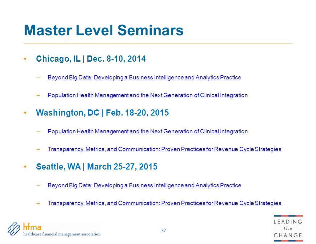 Master Level Seminars Chicago, IL | Dec. 8-10, 2014