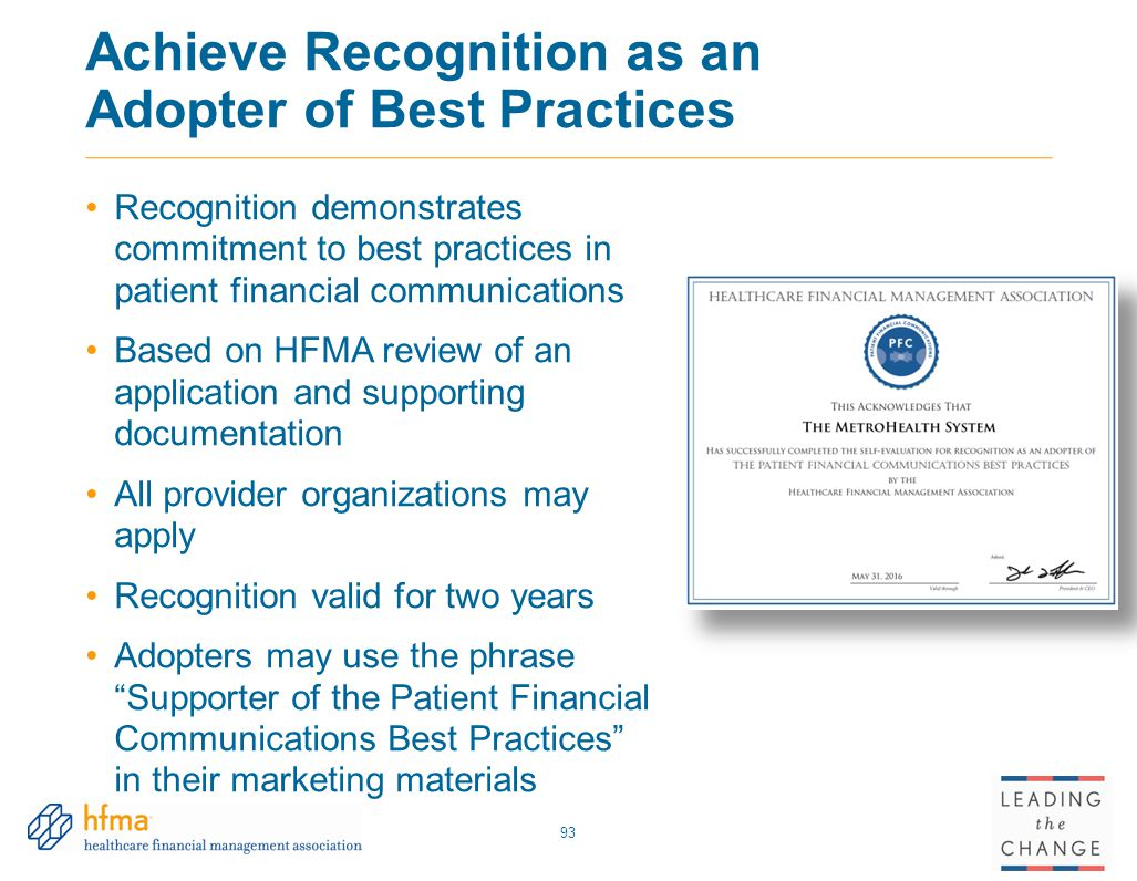 Achieve Recognition as an Adopter of Best Practices