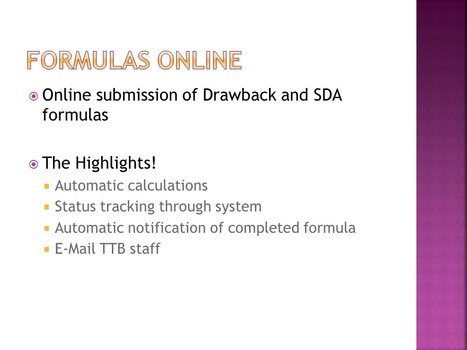 Formulas Online Online submission of Drawback and SDA formulas
