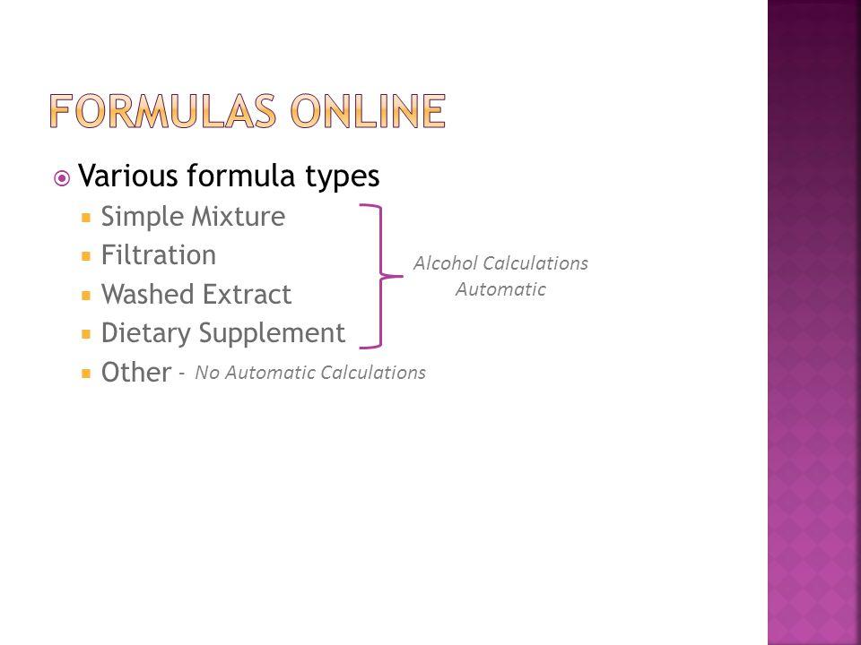 Formulas Online Various formula types Simple Mixture Filtration