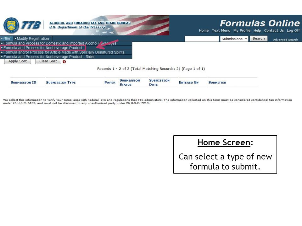 Can select a type of new formula to submit.