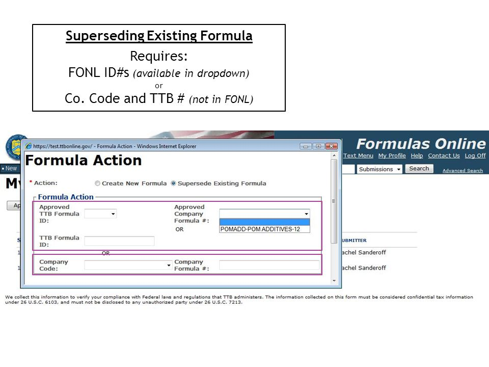Superseding Existing Formula