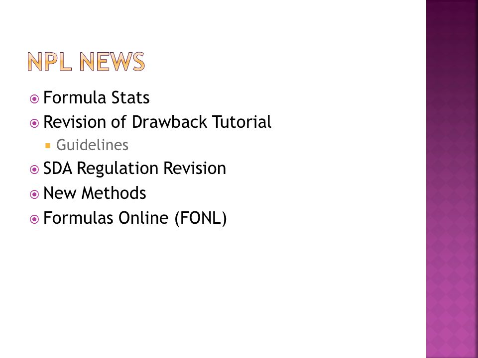 NPL news Formula Stats Revision of Drawback Tutorial