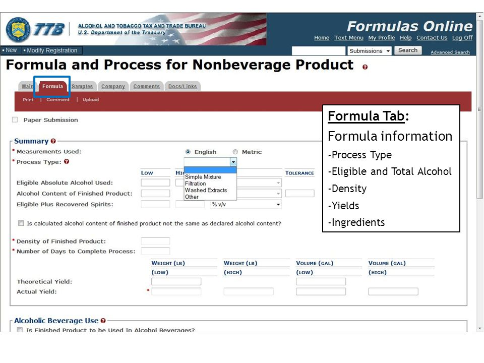 Formula Tab: Formula information Process Type