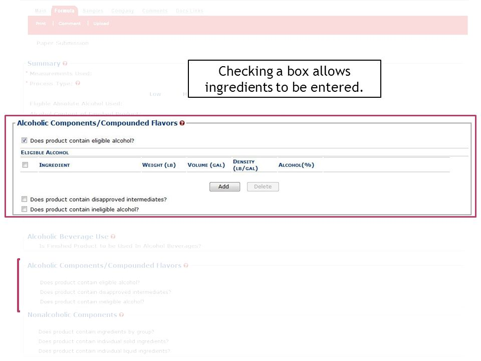 Checking a box allows ingredients to be entered.