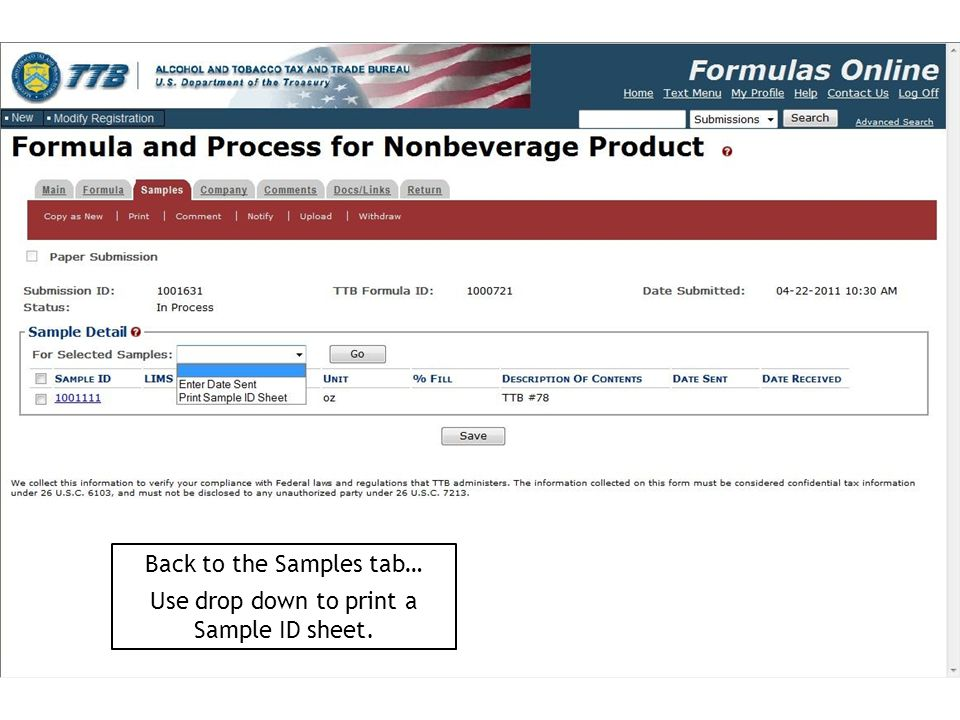 Back to the Samples tab… Use drop down to print a Sample ID sheet.
