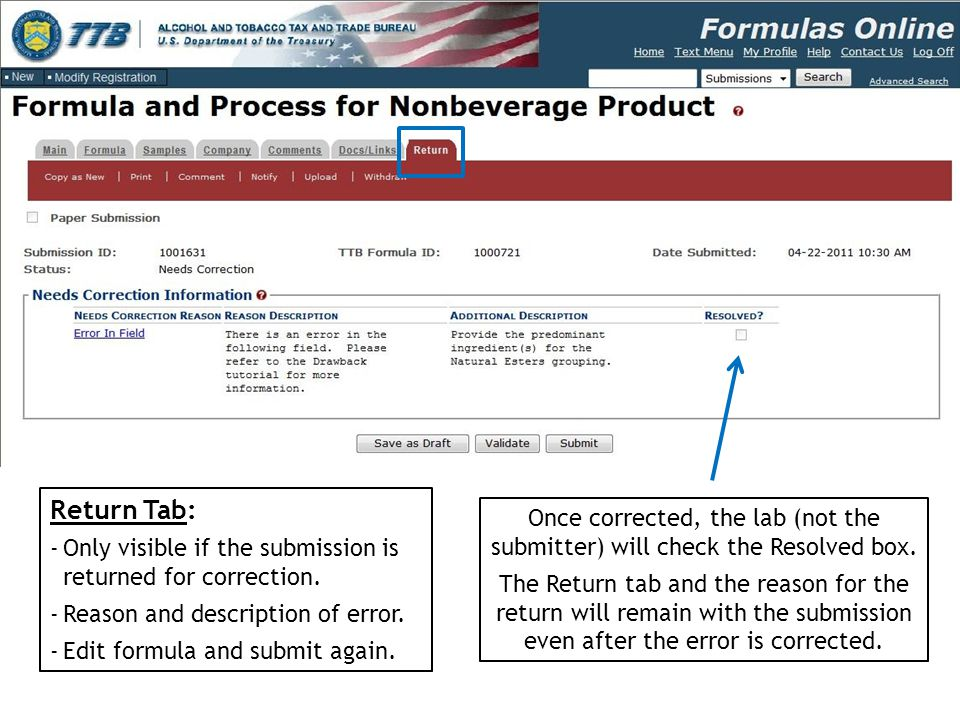 Return Tab: Only visible if the submission is returned for correction. Reason and description of error.