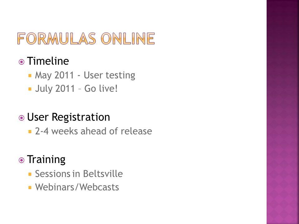 Formulas ONline Timeline User Registration Training