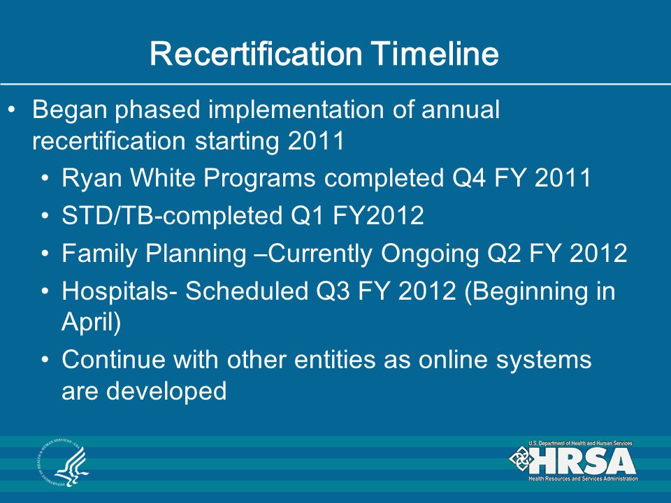 Recertification Timeline