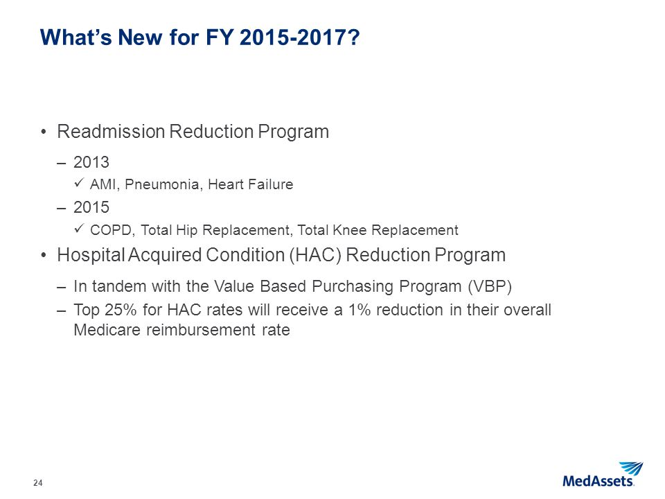What's New for FY 2015-2017 Readmission Reduction Program