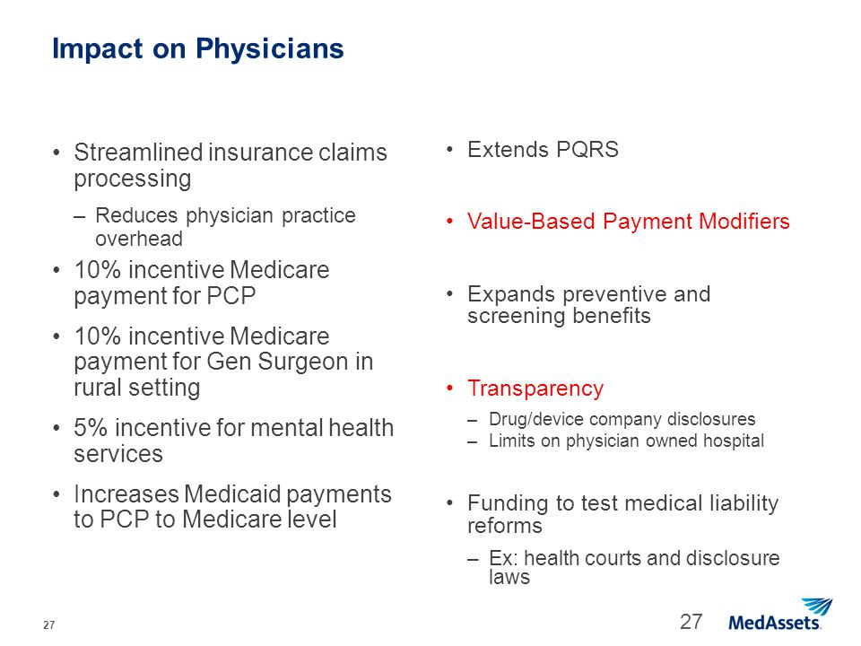 Impact on Physicians Streamlined insurance claims processing