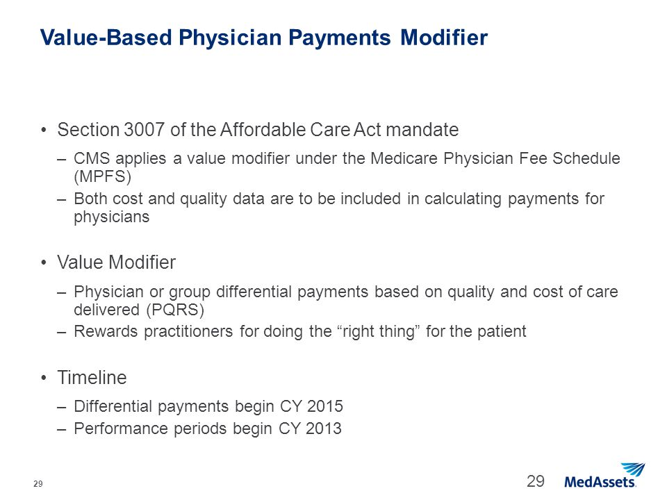 Value-Based Physician Payments Modifier