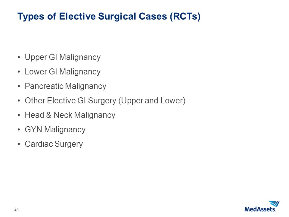 Types of Elective Surgical Cases (RCTs)