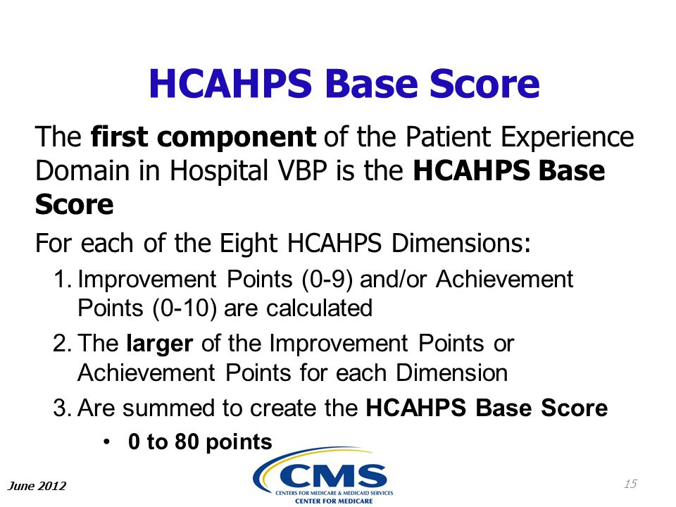 HCAHPS Base Score The first component of the Patient Experience Domain in Hospital VBP is the HCAHPS Base Score.