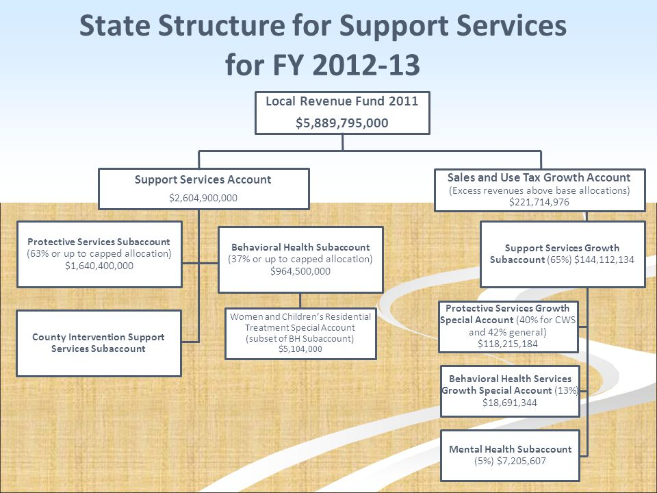 State Structure for Support Services for FY 2012-13