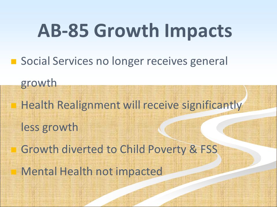 AB-85 Growth Impacts Social Services no longer receives general growth
