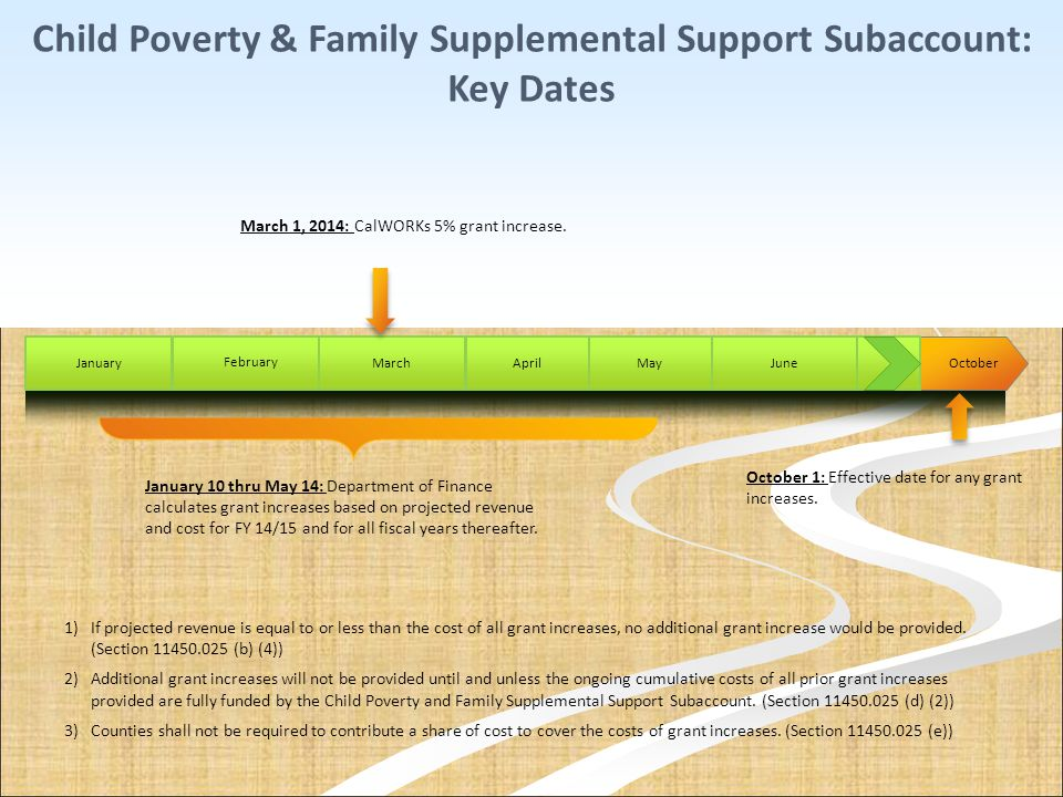 Child Poverty & Family Supplemental Support Subaccount: Key Dates