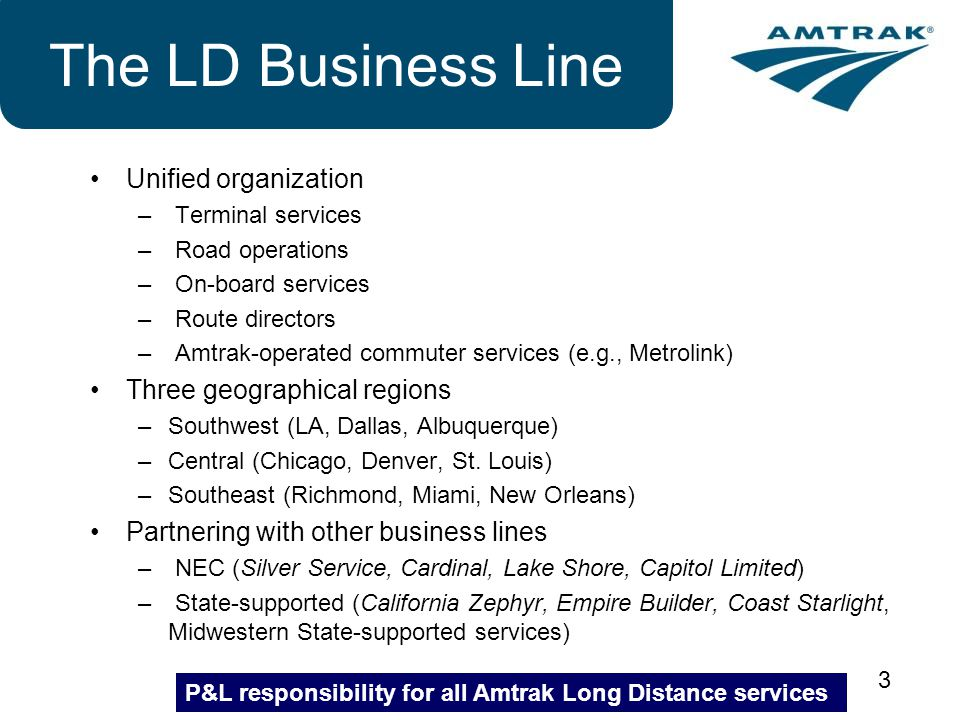 The LD Business Line Unified organization Three geographical regions
