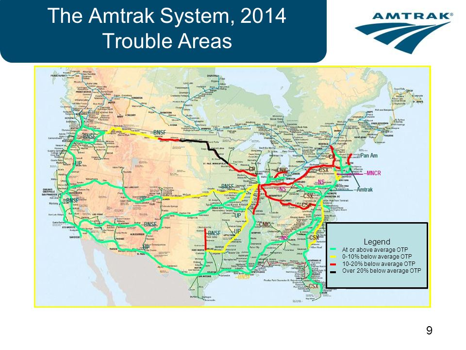 The Amtrak System, 2014 Trouble Areas