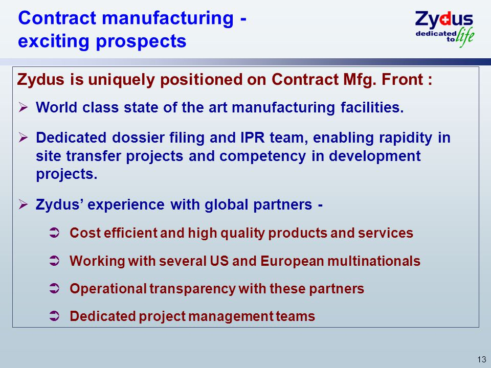 Contract manufacturing - exciting prospects