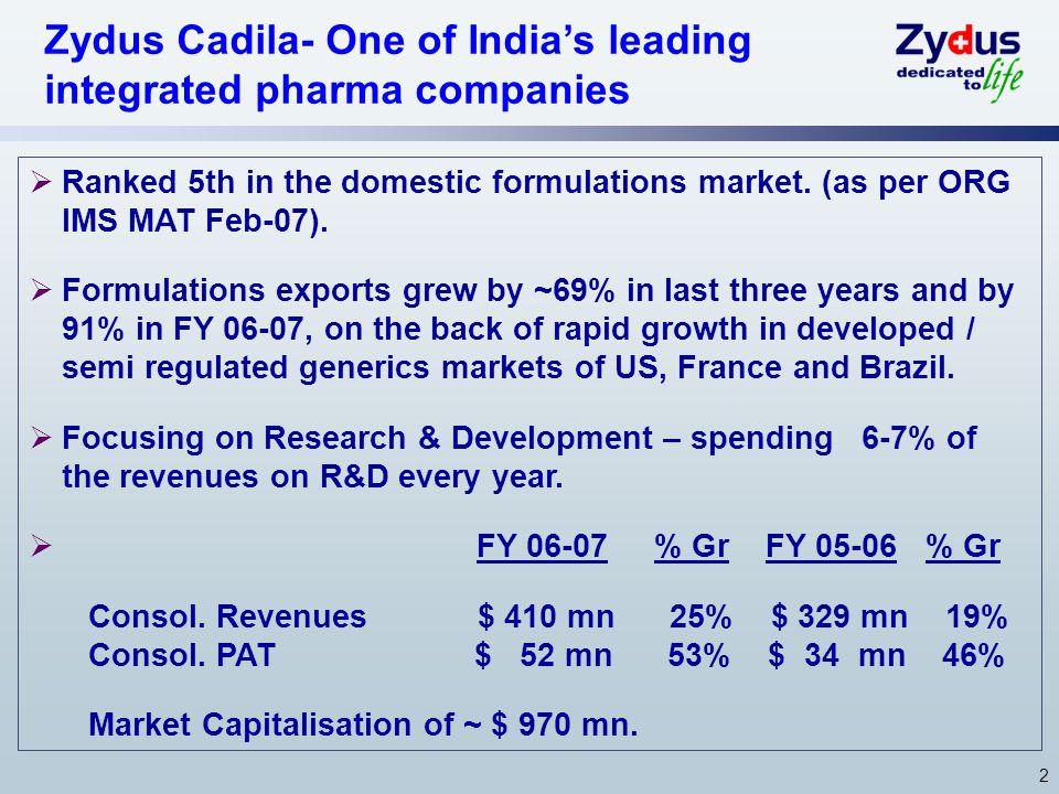 Zydus Cadila- One of India's leading integrated pharma companies