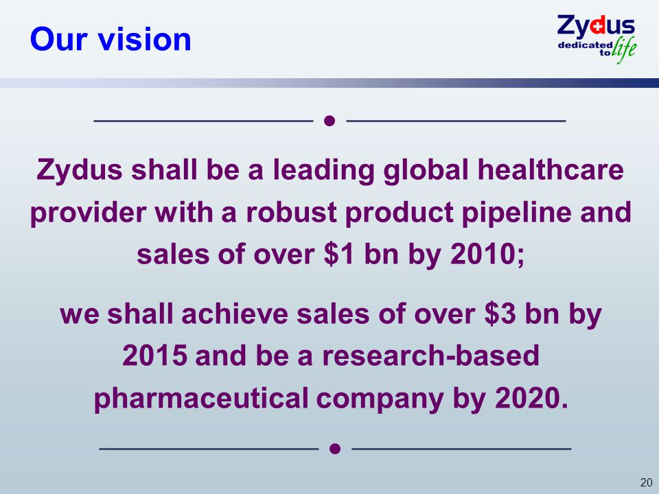 Our vision Zydus shall be a leading global healthcare provider with a robust product pipeline and sales of over $1 bn by 2010;