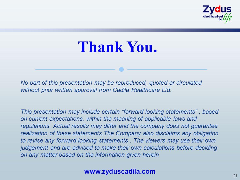 Thank You. www.zyduscadila.com